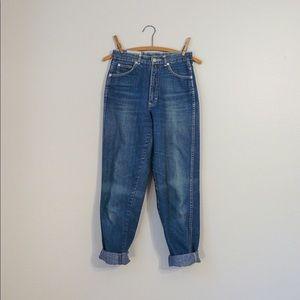 1970s high waisted jeans indigo distressed denim